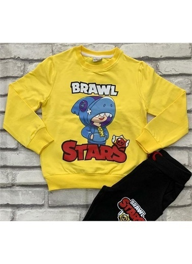 Riccotarz Erkek Çocuk Brawl Stars Sarı Eşofman Takım Renkli